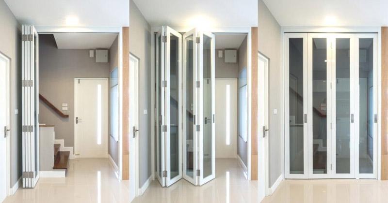 Дверь гармошка жалюзи в открытом и закрытом состояниях